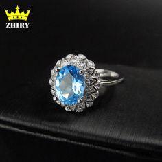 Blauer Topas edelstein ring Genuine feste Echt 925 sterling silber Natürlichen edelstein-ringe frau schmuck