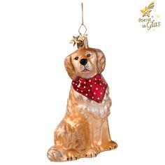 Exklusiver Baumschmuck aus Glas von Käthe Wohlfahrt®  Des Menschen bester Freund. Golden Retriever mit rotem Halstuch. Mundgeblasen und von Hand bemalt.