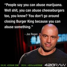 Marijuana quote by - Joe Rogan - @official420raw / 420raw.com These are some cool #Marijuana Pins but OMG check this out #MedicalMarijuana www.budhubinc.com https://www.facebook.com/BudHubInc (Like OurPage)