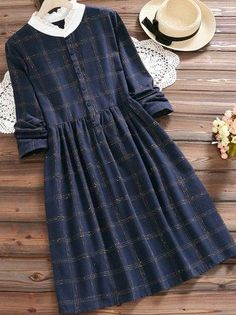 Vintage Plaid Print Patchwork Long Sleeve Dresses For Women - Women Outfits Vintage Girls Dresses, Stylish Dresses For Girls, Dress Clothes For Women, Stylish Dress Designs, Girls Fashion Clothes, Casual Dresses, Long Sleeve Vintage Dresses, Robes Vintage, Frock For Women