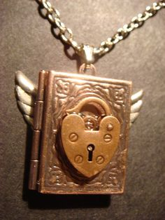 Steampunk Copper Locket Necklace with Heart Lock and Wings