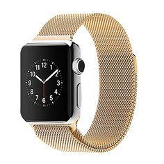 38 mm Apple Watch Milanaise Edelstahl Armband Magnet-Verschluss Luxus Uhrenband Strap Genius Stainless Steel Basic / Sport / Edition - Keine Schnalle benötigt - in Gold von OKCS - http://on-line-kaufen.de/okcs/38-mm-magnet-gold-38-mm-apple-watch-milanaise-luxus-2