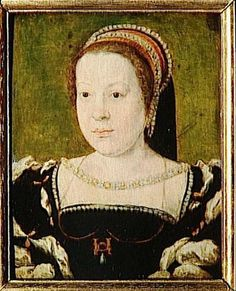 Catherine de Medici queen of fr, she wears the monogram of her husband Henri ii as a necklace