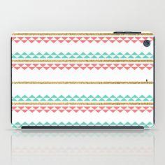 Mint Coral Gold Glitter Tiny Triangle Stripes iPad Case