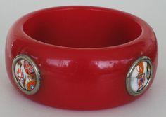 Vintage Bakelite Bracelet Murano Glass Inserts by COBAYLEY on Etsy, $295.00