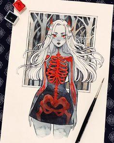 Demon Drawings, Dark Art Drawings, Art Drawings Sketches, Cute Drawings, Ghost Drawings, Halloween Drawings, Fantasy Kunst, Fantasy Art, Pretty Art