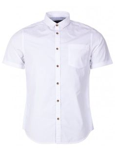 56f73afae Industrialize Mens White Short Sleeve Buttoned Poplin Shirt Mens White  Shorts, White Short Sleeve Shirt