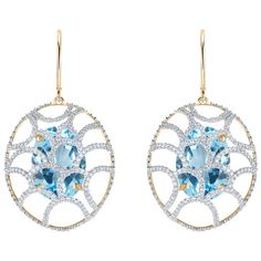 Women's Yellow Gold Earrings by Arya Esha Cage Sky Blue Topaz and... ($8,965) ❤ liked on Polyvore featuring jewelry, earrings, blue, blue diamond earrings, blue topaz earrings, blue topaz diamond earrings, earrings jewelry and gold jewelry