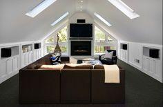Bright home theater Bonus Room Design, Media Room Design, Attic Design, Family Room Design, Loft Design, Interior Design, Design Design, Attic Bedroom Closets, Attic Rooms