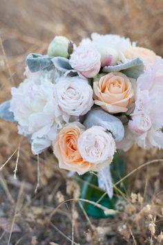 Blush and peach pastel bridal bouquet
