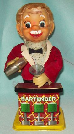 Vintage Charlie Weaver The Original Bartender 1960s by Rosko Battery Powered Tin Toy in Good Working Condition. via Etsy.