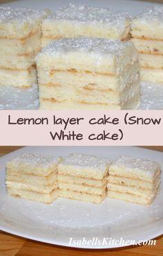 Lemon layer cake (Snow White cake) - video recipe - isabell's kitchen Snow White Cake, Snow Cake, Cake Videos, Food Videos, Lemon Layer Cakes, Eat Cake, Savoury Baking, Dessert Recipes, Waffles