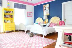 Alice toddler room - navy, pink, yellow Would love to paint my grandma's Hutch a bright color