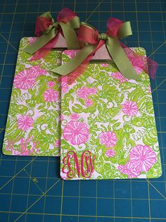 my mini Lilly clipboards, easy project! - mini clipboards, Lilly Chum Bucket wrapping paper, pink vinyl, Silhouette SD, Mod Podge, ribbons