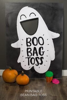 Boo Bag Toss -- adorable giant printable for Halloween party fun! Halloween Crafts For Toddlers, Halloween Party Games, Kids Party Games, Halloween Birthday, Halloween Activities, Holidays Halloween, Halloween Fun, Party Fun, Party Ideas