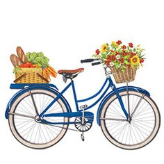 Flowers in the front basket and food in the back basket on this bicycle print