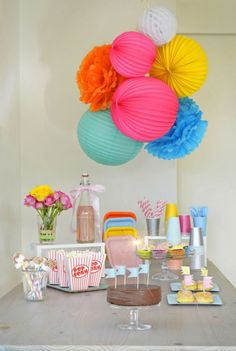 Slumber Party – A Bright & Colorful Party Table  #paperlanterns #pink #yellow #blue #orange