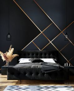 Bedroom Wall Designs, Bedroom Bed Design, Modern Bedroom Design, Home Room Design, Home Interior Design, Bedroom Decor, Wallpaper Design For Bedroom, Luxury Wallpaper, Modern Luxury Bedroom