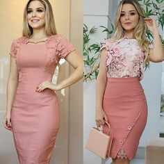 Casual Work Outfits, Cute Outfits, Trendy Dresses, Fashion Dresses, Split Prom Dresses, Social Dresses, Straight Dress, Looks Chic, Church Outfits