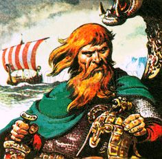 Eric the Red, the fierce red-haired Viking who discovered Greenland about AD 982.   Artist	 Pat Nicolle