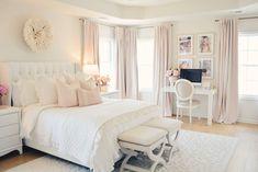 Elegant White Master Bedroom & Blush Decorative Pillows - The Pink Dream Dream Rooms, Dream Bedroom, Home Decor Bedroom, Master Bedroom, Bedroom Ideas, Girls Bedroom, Bedroom Designs, Master Suite, Decoration Inspiration