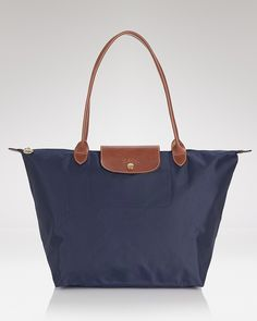Longchamp Le Pliage Large Shoulder Tote in Navy