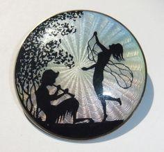 RARE Antique Marius Hammer Norway Sterling Silver Enamel Pan Fairy