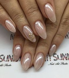 Best 12 Simple Nail Art Designs & Ideas for Long Nails In 2018 – – – SkillOfKing. Cute Nails, Pretty Nails, Nagel Blog, Almond Acrylic Nails, Bride Nails, Wedding Nails Design, Pin On, Chrome Nails, Nagel Gel