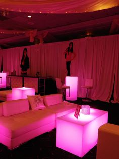 "No ""lounge/club"" is complete without a ""bar"" right in the middle. Incredible pink and white lounge set up for the Mitzvah girl and her VIP's."