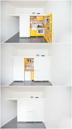 This white and yellow hideaway kitchen is a space-saving wonder - - When Melbourne-based architect Nicholas Agius set out to design a new kitchen for his small flat, he wanted to create something that complimented the orig. Compact Furniture, Space Saving Furniture, Small Space Living, Small Spaces, Kitchen Furniture, Furniture Design, Furniture Ideas, Cheap Furniture, Space Saving Kitchen
