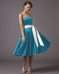 I like the white sash with the Tiffany blue dress. Although, I think straps would be a good idea. Tiffany Blue Bridesmaid Dresses, Tiffany Blue Dress, Tea Length Bridesmaid Dresses, Prom Dresses, Pink Wedding Theme, Wedding Party Dresses, Dream Wedding, Wedding Attire, Easter Dress