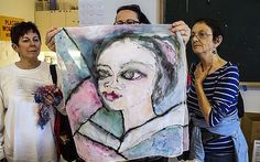"""Festival of Silk Painters Raises Hail in Santa Fe. Show & Tell time with work from Jan Janas's """"Face to Face with Stencils"""" workshop. Photo by Muffy Clark Gill."""