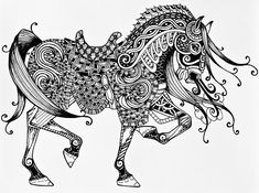 War Horse - Zentangle Drawing by Jani Freimann - War Horse - Zentangle Fine Art Prints and Posters for Sale