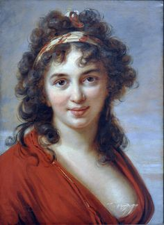 Isabella Teotochi Marini (1792). Élisabeth–Louise Vigée-Le Brun (French, 1755-1842). Oil on paper mounted on canvas. Toledo Museum of Art. Vigée-Lebrun was court painter and close friend to Marie-Antoinette, wife of Louis XVI. Because of her association with the Queen, even though she herself was not noble, she was forced to flee during the Revolution. She painted this portrait of Isabella Teotochi Marini, hostess of a literary salon and toast of Venetian society, while in exile in Venice.