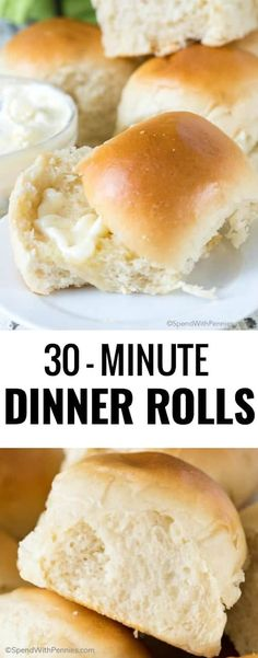 30 Minute Dinner Rolls – Spend With Pennies 30 Minute Dinner Rolls – Spend With Pennies,The BEST Easy Recipes So incredibly easy to make and wonderfully delicious, these Dinner Rolls are the perfect. Quick Dinner Rolls, Quick Rolls, No Yeast Dinner Rolls, Homemade Dinner Rolls, Easy Yeast Rolls, Fast Rolls Recipe, Easy Bread Roll Recipe, Quick Dinner Recipes, Homemade Buns