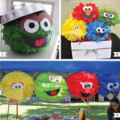 One of the great things about a Sesame Street theme party is that the characters' faces are so simple – it's easy to make them into really adorable party decorations. Start with any round shape (such as a party pom, a balloon, or a plate), ...