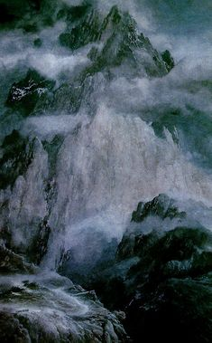 A painting of the company climbing towards Moria, by Alan Lee