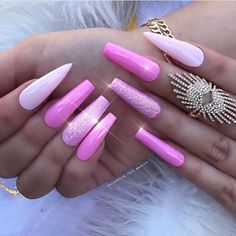 33 Cool Long Coffin Nail Designs - Page 2 of 39 - Soflyme Nail Desing nail design 2 French Manicure Nail Designs, Long Nail Designs, Colorful Nail Designs, Beautiful Nail Designs, Cute Nail Designs, Acrylic Nail Designs, Acrylic Nails, Nail Swag, Close Up