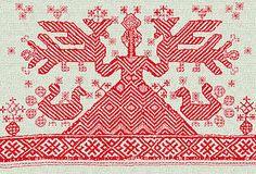 Богиня с птицами. Фрагмент полотенца. Архангелогородская губерния,  середина XIX века.
