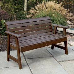 Outdoor highwood® Weatherly Recycled Plastic Bench with Back - AD-BENW3-BKE