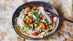 Rice Noodles with Cashew Sauce and Crunchy Veg Recipe | Bon Appetit