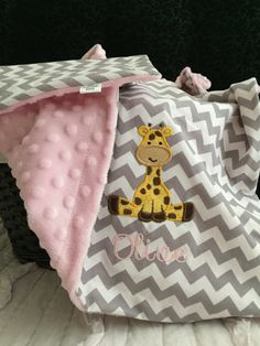 Giraffe Baby Blanket  Personalized Giraffe Baby by OurAdorableBaby