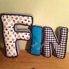 handmade diy alphabet letter shaped cushion decorative pillow nautical blue theme with star