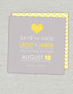 Grey & Yellow Modern Save the Date.