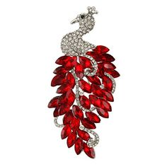 EVER FAITH SilverTone Austrian Crystal Elegant Peacock Brooch Pendant Red w Clear *** Want to know more, click on the image.