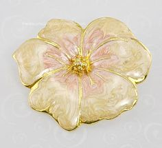 Check out the deal on Immortal Vintage Champagne and Rose Enamel Pansy Floral Brooch at Amazing Adornments  $23