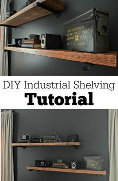 DIY Industrial Shelving Tutorial.  Easy DIY project!