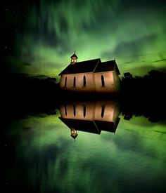 Country Church and Northern Lights in Saskatchewan Canada
