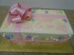 1/4 sheet with buttercream icing and fondant details: $65 ($55 without bow)