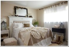 Cute idea for a headboard--made from a vintage fireplace mantel!